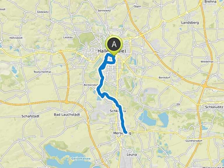 Saale Radweg Karte.Saale Radweg Halle Merseburg Halle Fahrradtour Komoot