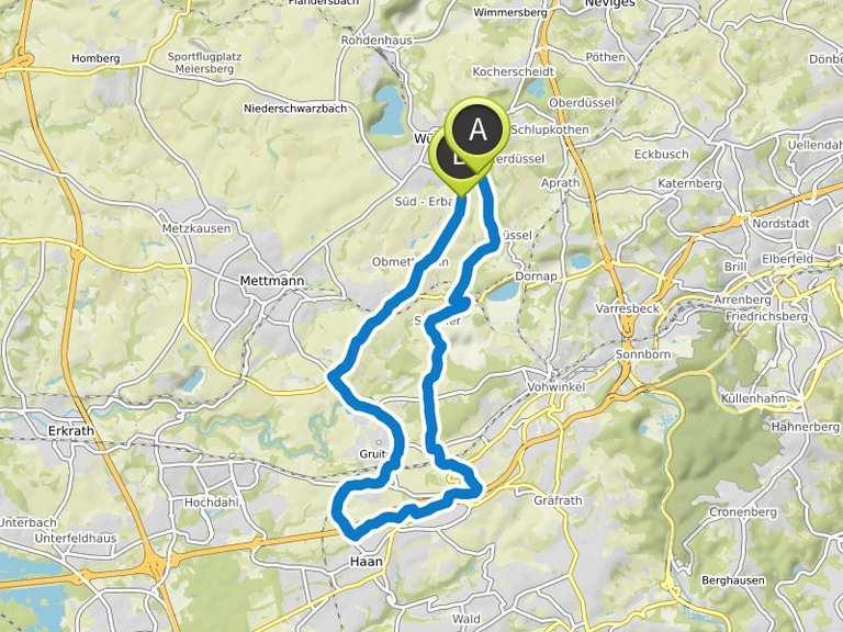 Von Kastanienallee 21B, 42489, Wülfrath nach Alsenstraße 18, 42781 on